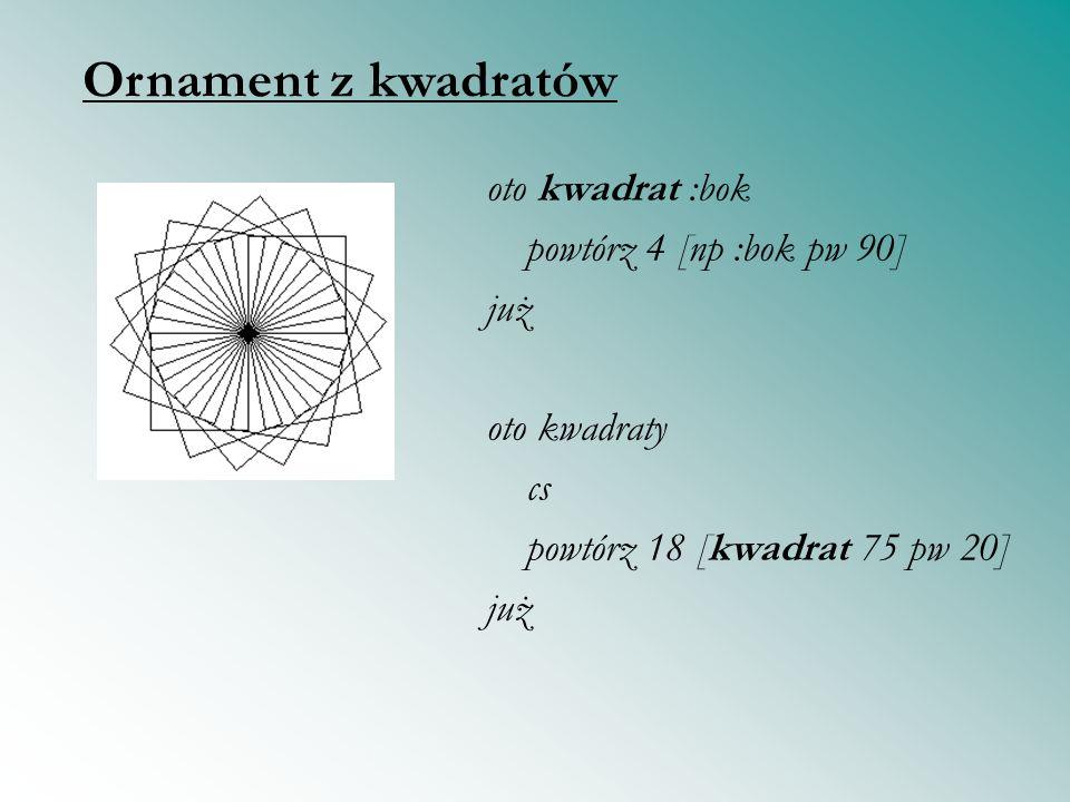 Ornament z kwadratów oto kwadrat :bok powtórz 4 [np :bok pw 90] już